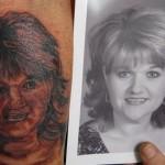 Tatouage raté portrait de femme