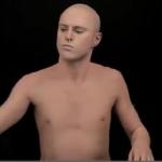 zombie boy, sans ses tatouages, recouvert de fond de teint pour les besoins d'une publicité