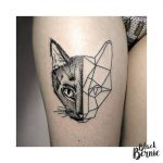 tatouage chat double face origami