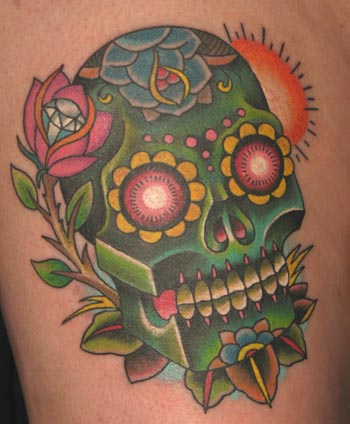 tatouage t te de mort old school tatouage cr ne mexicain. Black Bedroom Furniture Sets. Home Design Ideas