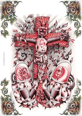 Tatouage croix old school tatouage de croix crucifix - Dessin new school ...